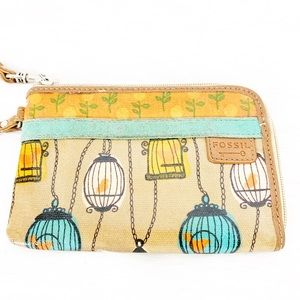 Fossil Bags - Fossil Key Per Wristlet Bird Cage Coated Canvas
